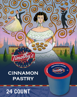 24 count Timothy/'s World Coffee Cinnamon Pastry K-Cup